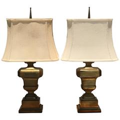 Pair of Neoclassical Urn Patinated Brass Lamps