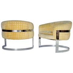 Milo Baughman Mid-Century Modern Cantilevered Chrome Barrel Chairs