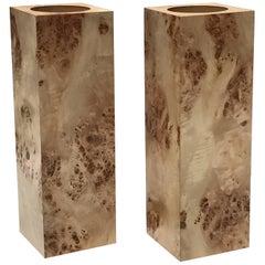 Pair of Square Pillar Burl Wood Candleholders
