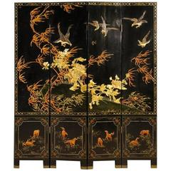 20th Century French Chinoiserie Lacquered and Painted Screen