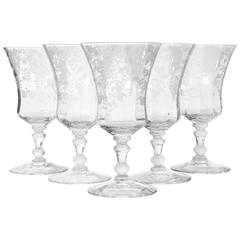 Cambridge Glass Rosepoint Water Stems, Set of Five