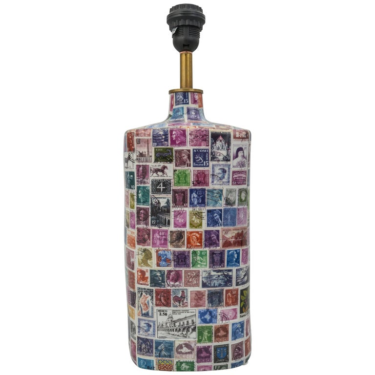 """""""Stamps"""" Porcelain Table Lamp For Sale"""