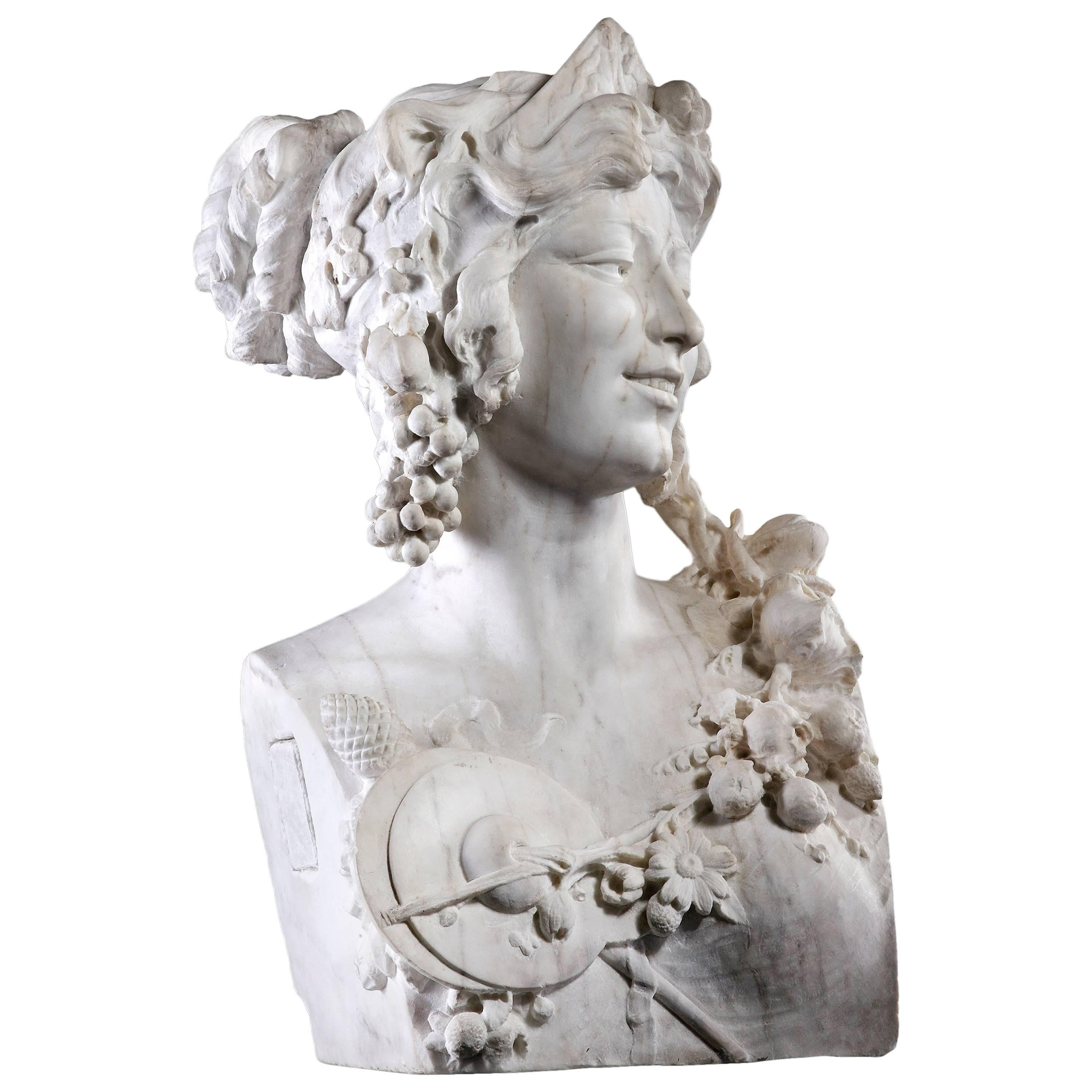 French Late 19th Century White Marble Bust of a Bacchante