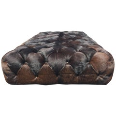 Utterly Sublime Oversized Tufted Pony Hide Ottoman Coffee Table
