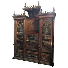 Very Impressive Gothic Revival Carved Mahogany Bookcase