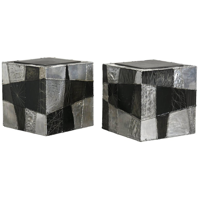 "Paul Evans Pair of ""Argente"" Cubes with Slate Tops, 1970s"