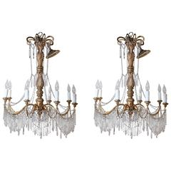 Pair of 19th Century Genovese Giltwood and Crystal Chandeliers
