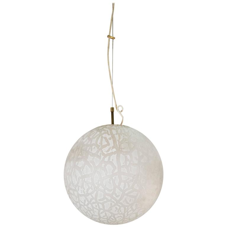 Etched Murano Glass Pendant Light, Italy, 1950s