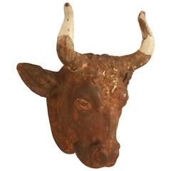French Boucherie Cast Iron Steer Head Sign