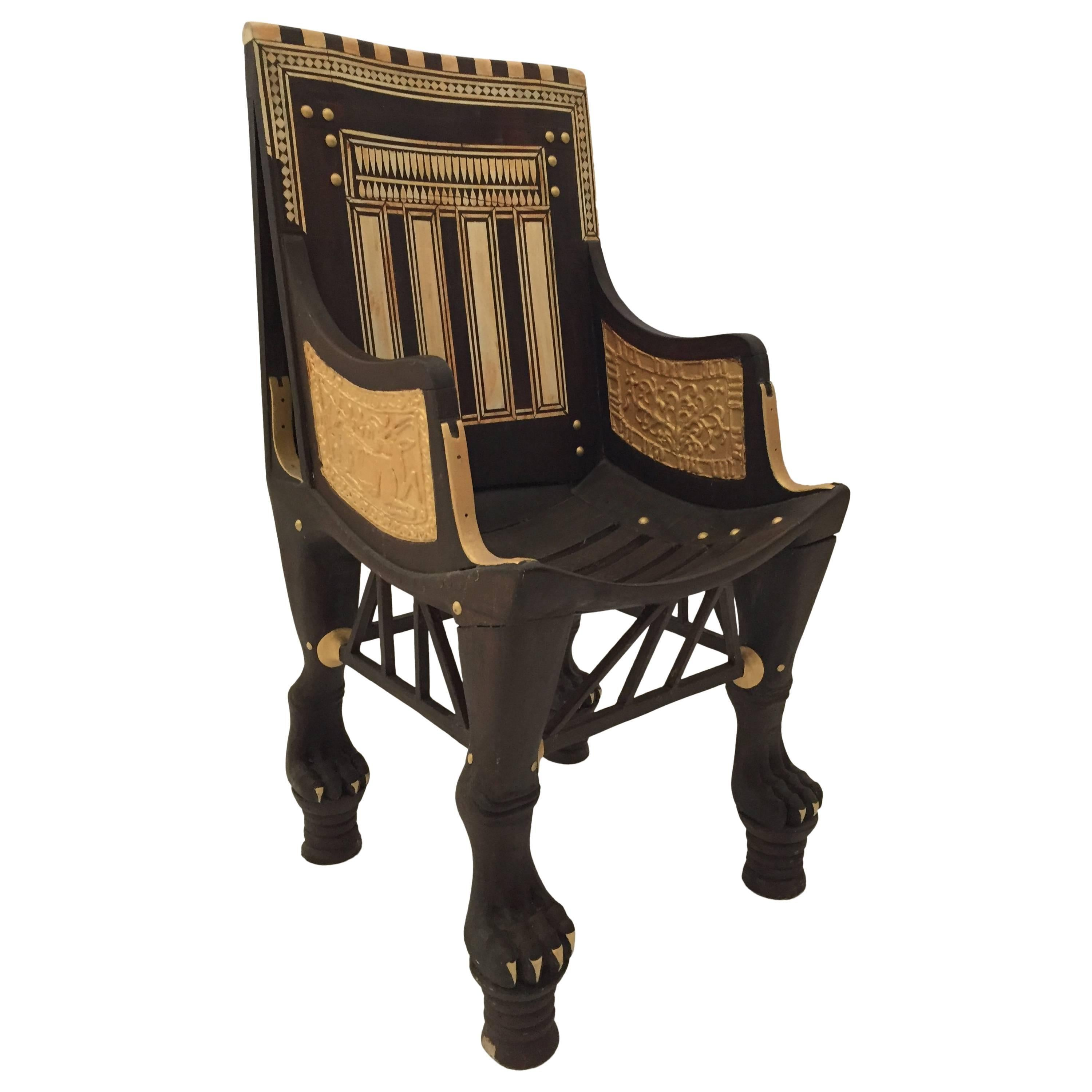 Egyptian Revival Giltwood Throne Chair For Sale
