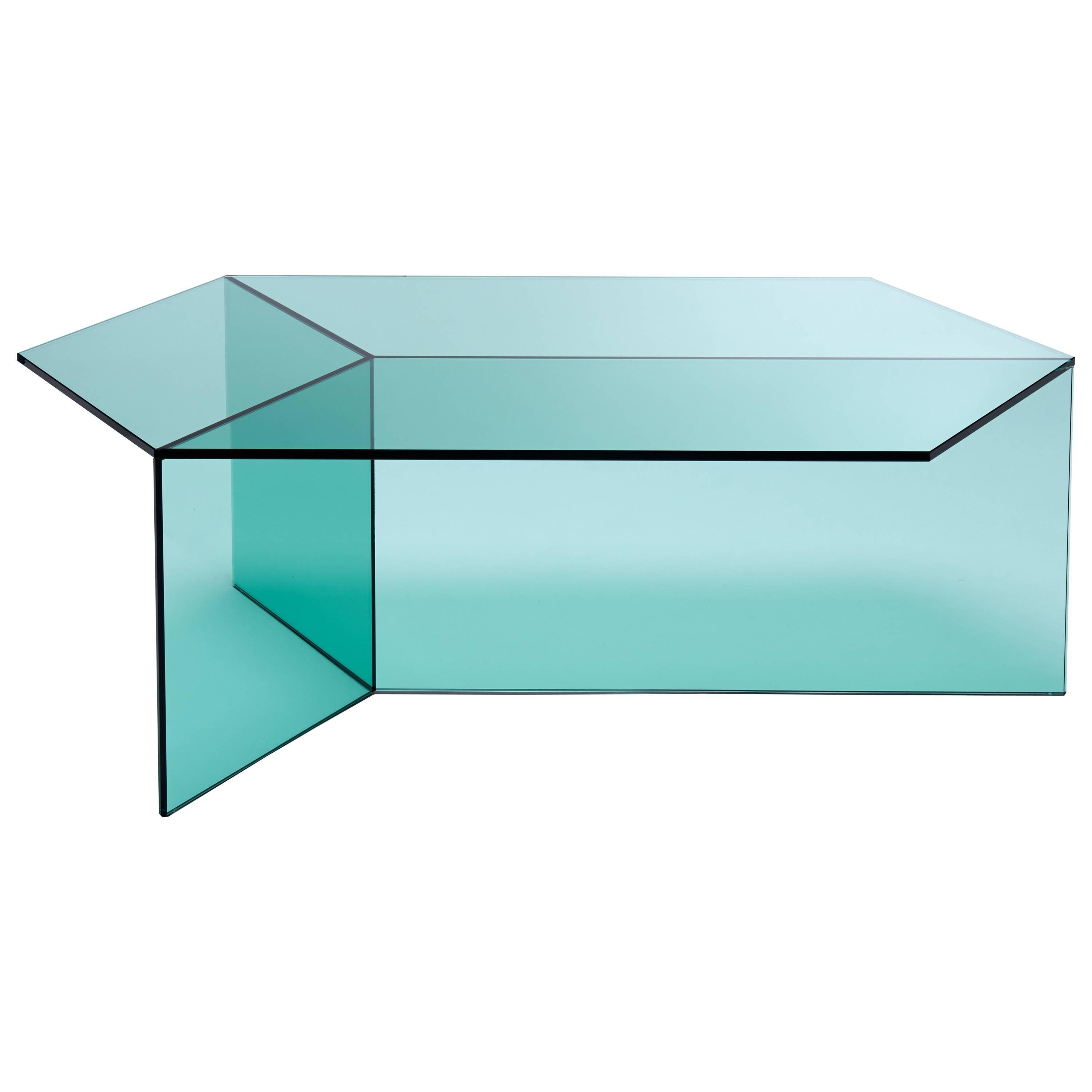 Isom Oblong Side Table in Tempered Glass