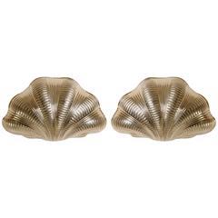 Italian Solid Brass Scallop Design Sconces, Pair