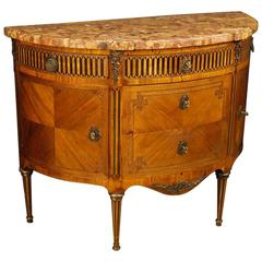 19th Century French Inlaid Demi Lune Dresser in Louis XVI Style