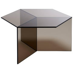Isom Square Bronze Side Table in Tempered Glass