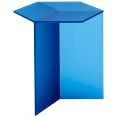 Isom Tall Frosted Blue Side Table