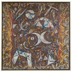 Richard Texier Extra Large Abstract Oil Painting, Ca Gigotte