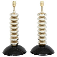 Unique Pair of Italian Mercury Gold and Black Murano Glass Lamps