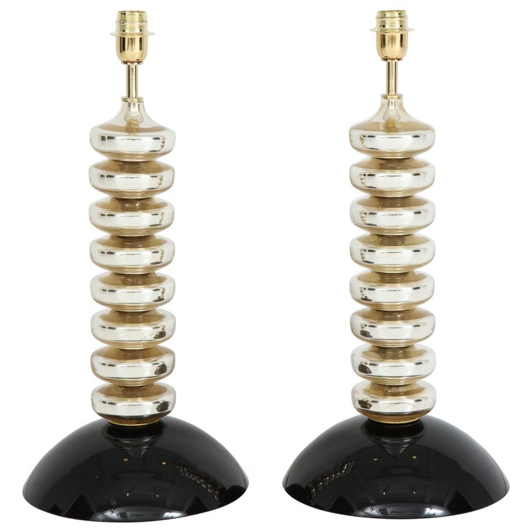 Unique Pair of Italian Mercury Gold and Black Murano Glass Lamps 1