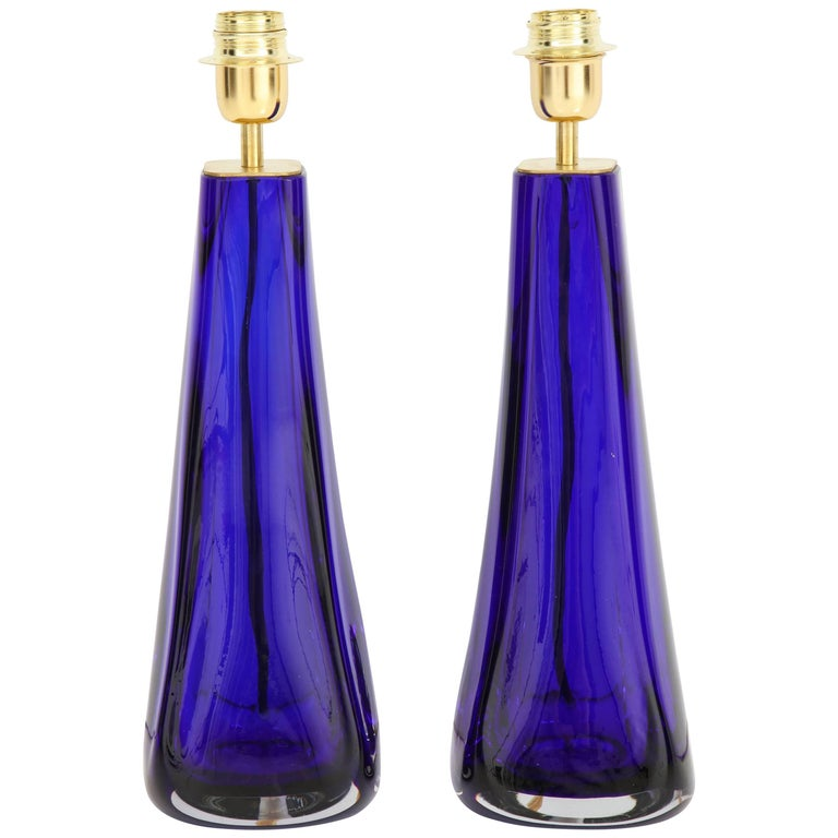"Pair of Italian Cobalt Blue ""Sommerso"" Murano Glass Lamps For Sale"
