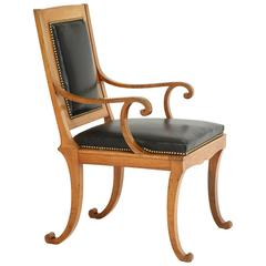 Rare German Fruitwood Klismos Chair, circa 1840s