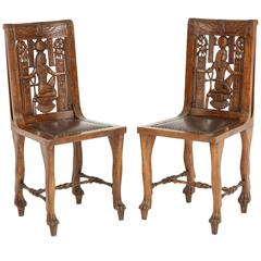 Pair of Egyptian Revival Fruitwood Side Chairs, circa 1900