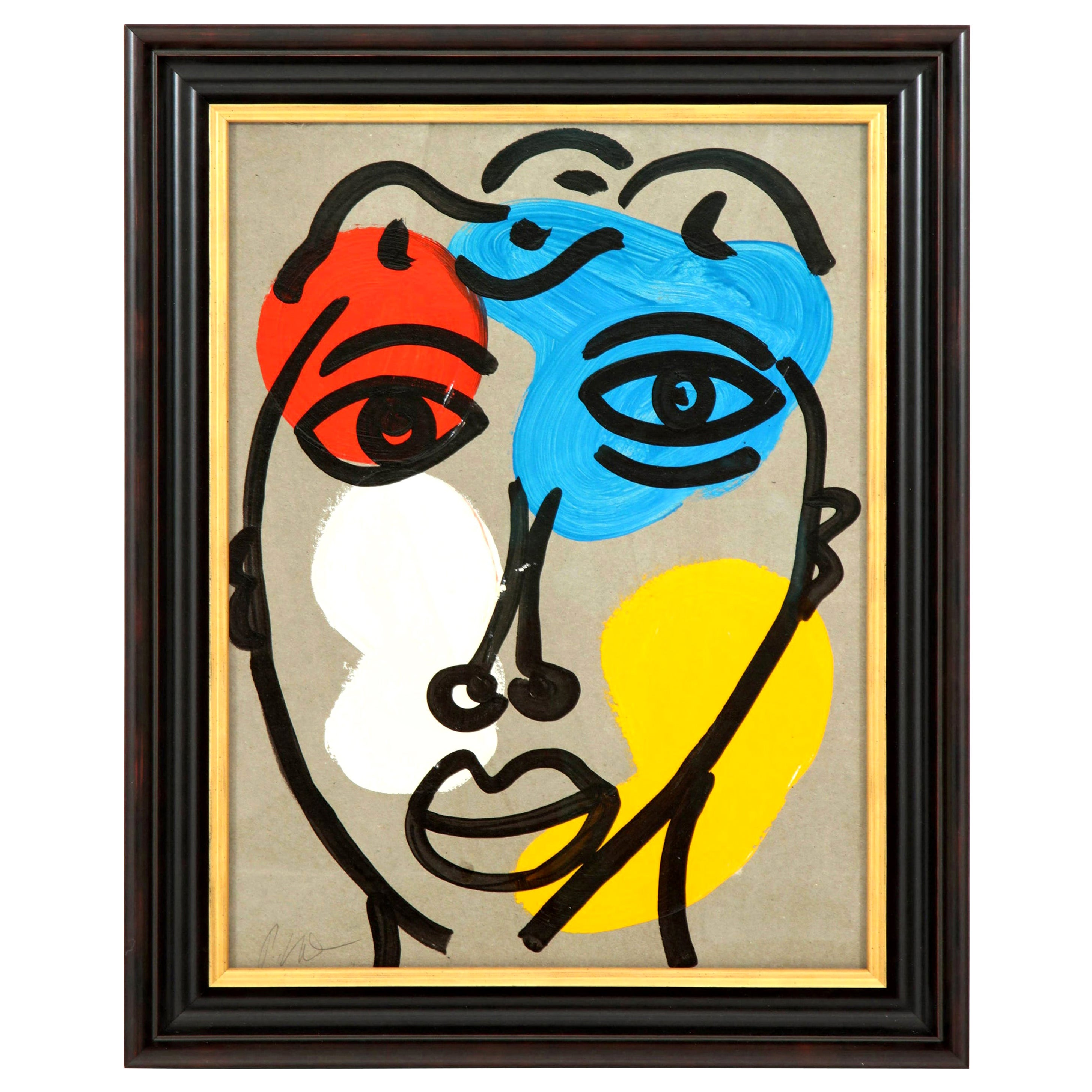 Painting by Peter Robert Keil, Midcentury Art, Red, Blue, Yellow, C 1970, Modern
