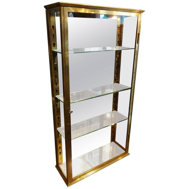 Late 19th Century French Brass Wall Vitrine Cabinet At 1stdibs