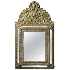 Antique French Baroque Style Bronze Mirrored Wall Cabinet, circa 1920