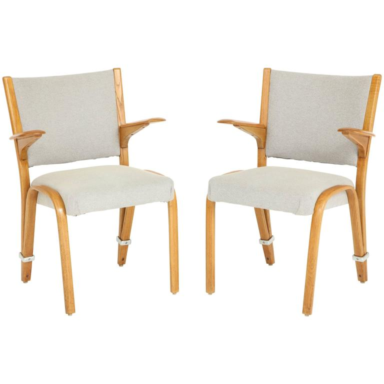 Rare Pair of 1950s Hugues Steiner Armchairs For Sale