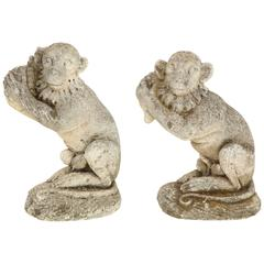 Pair of 1940s Vincenza Stone Garden Monkeys