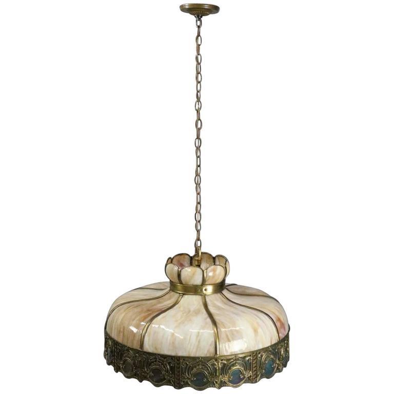Antique Art And Crafts Filigree Slag Gl Hanging Chandelier Circa 1920 For