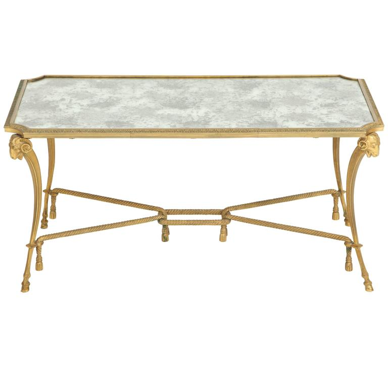 Empire Style 1940s Baguès Bronze Coffee Table For Sale