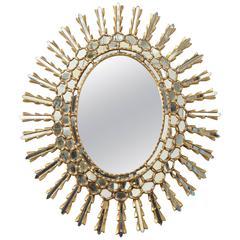 1960s Spanish Style Giltwood Sunburst Mirror