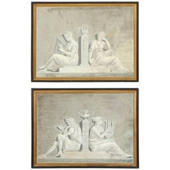 Pair of Late 19th Century Grey Neoclassical Greisaille Paintings