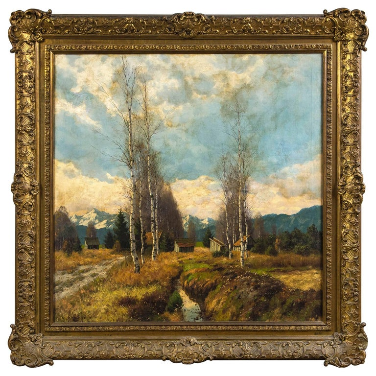 Antique Painting Trees and Cottages with Blue Skies For Sale