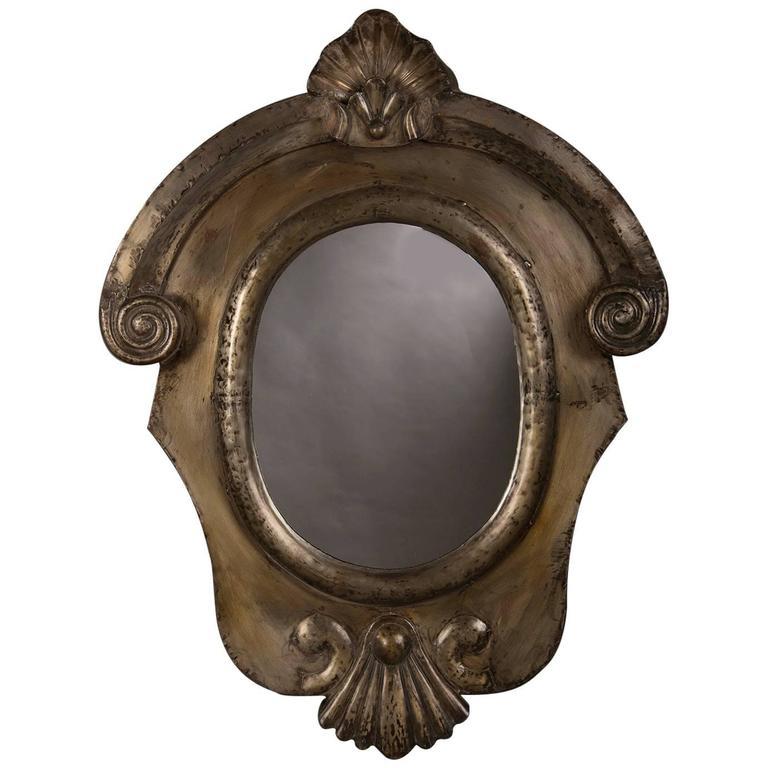 Antique Italian Neoclassical Brushed Steel Mirror, circa 1895