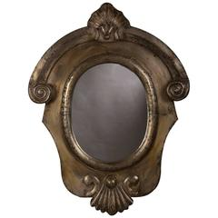Antique Italian Neoclassical Brushed Steel Mirror, circa 1895