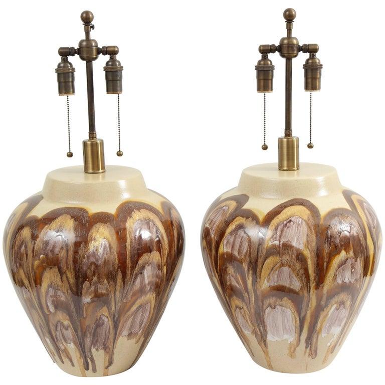 Pair of 1960s Ceramic Lamps For Sale