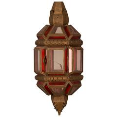 Vintage Moroccan Brass Wall Sconce with Red and Clear Glass Panels, circa 1930