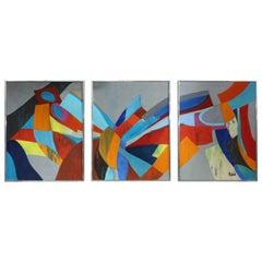 Triptych Acrylic On Canvas By Marc Rubin