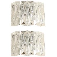 Austrian Faceted Crystal Prism Sconces