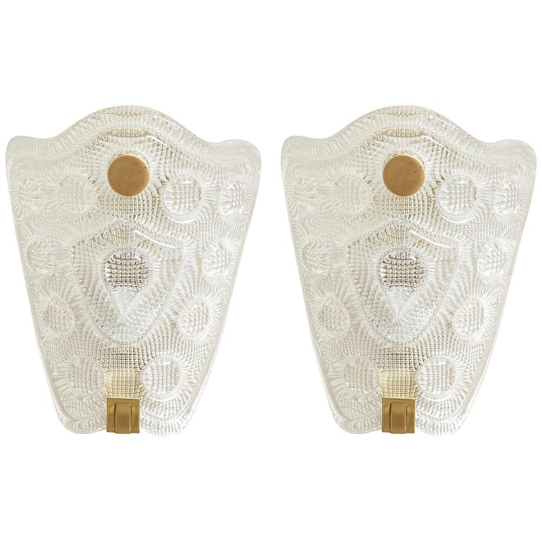 Carl Fagerlund/Orrefors Crystal Sconces For Sale