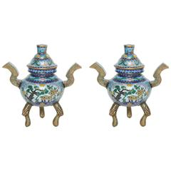 Pair of Cloisonné Incense Holders