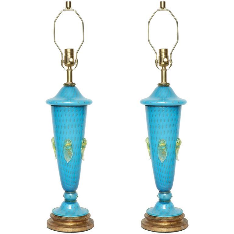 Barovier Tiffany Blue Murano Glass Lamps 1