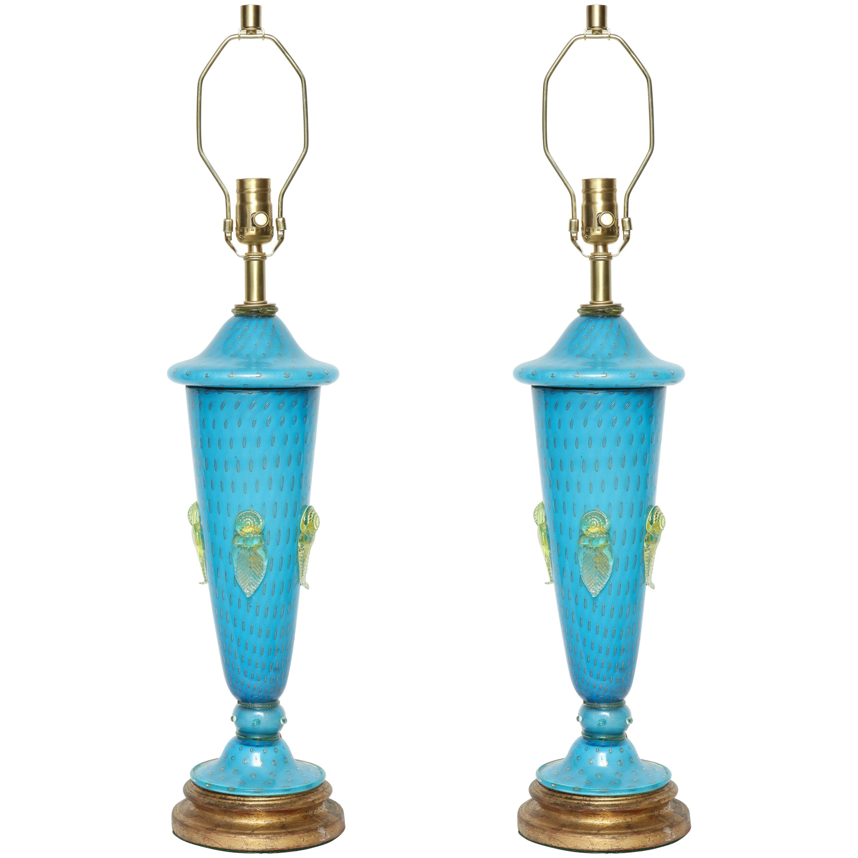 Barovier Tiffany Blue Murano Glass Lamps