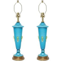 Barovier Tiffany Blue Murano Glass Lamps