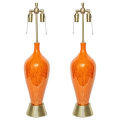 Italian Orange/Gold Splatter Glazed Lamps