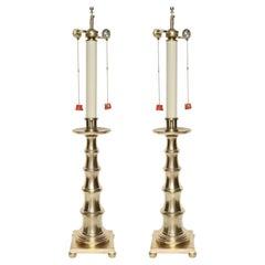 Stylized Bamboo Satin Brass Lamps