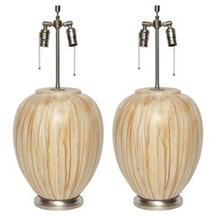 Italian Tan/Brown Drip Glazed Ceramic Lamps