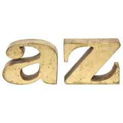 C. Jere Gilded A-Z Bookends, 1970s